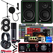 """Focusrite Scarlett Solo 2x2 USB Audio Interface Full Studio Bundle with Creative Music Production Software Kit and CR3-X Pair Studio Monitors and 1/4"""" Instrument Cables"""
