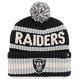 '47 Oakland Raiders Bering Black Stripe Cuffed Beanie Hat with Pom - Las Vegas Cuff Cap