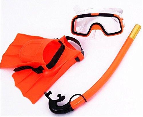 SAFLYSE Kinder Schnorcheln Set (Taucherbrille + Schnorchel + taucherflossen) Schnorchel Set Tauchset (orange)