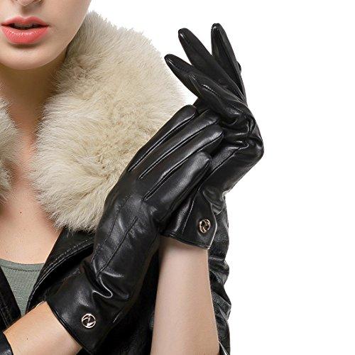 Nappaglo Damen klassische Lederhandschuhe Touchscreen Italienisches Lammfell Winter Warm Reines Kaschmir-Futter Handschuhe (L (Umfang der Handfläche:19.0-20.3cm), Schwarz(Touchscreen))