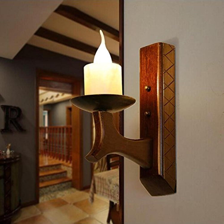 OOFAY LIGHT Vintage Rustikal Kerze Wandlampe Wandbeleuchtung Retro Hlzern Restaurant Cafe Dekoration Beleuchtung Kreativ Nachahmung Marmor Lampe, E14