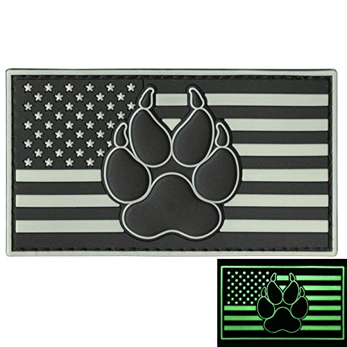 LEGEEON Glow Dark USA American Flag K-9 Paw Dog Handler GITD Morale PVC Rubber Hook&Loop