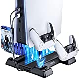 VOYEE Vertical Stand Compatible with PS5 Playstation 5, with Cooling Fan, Daul Controller Charging Station - Black
