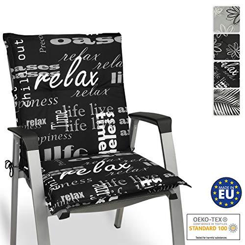 Beautissu Relax Niedriglehner Auflage für Gartenstuhl – Sitzpolster 100x50 cm Polsterauflage UV-Lichtecht – Stuhlauflage schwarz mit Schrift