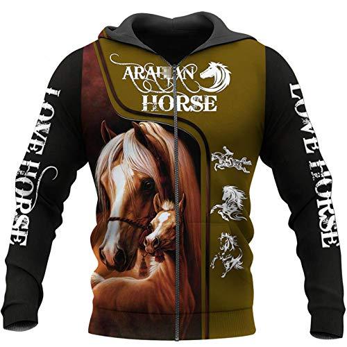 Sudadera con capucha para hombre y mujer, diseño de caballo en 3D