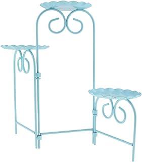Fenteer Vintage Cupcake Display Tower Foldable Cake Rack Iron Dessert Table Rack,Mult Colors Serving Platter Tree - Blue