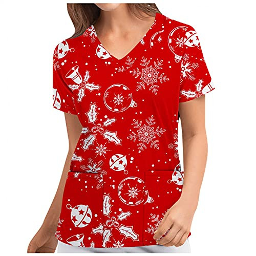 Kasack Damen Pflege Bunt mit Motiv Weihnachten: Schneemann Druck T-Shirt Schlupfkasack mit Zwei Taschen Kurzarm V-Ausschnitt Schlupfhemd Berufskleidung Krankenpfleger Uniformen Nurse