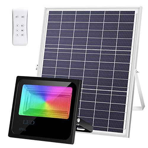 100W Foco Solar LED RGB Luz Solar Exterior IP66 Impermeable Remote Jardín Patio Terraza Camping