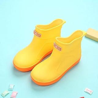 Baby Girls Boys Waterproof Rain Boots Non-Slip Rain Shoes PVC Rubber Lovely Boots for Kids Yellow Fashon