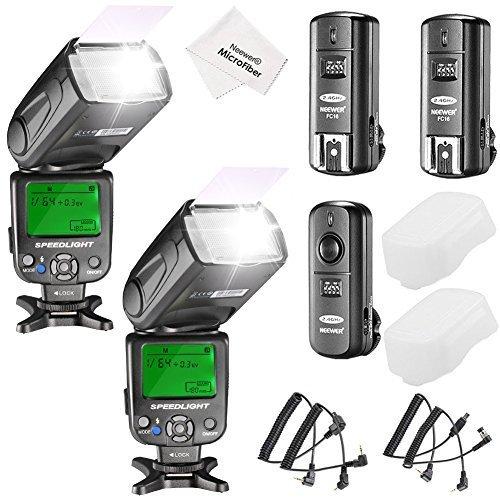 Neewer NW620 Manueller Blitz Speedlite Set für Canon Nikon Panasonic Olympus Pentax und andere DSLR Kameras, beinhaltet: (2) NW620 GN58 Blitz, 2,4 G Funk Auslöser (2) Harter Diffuser