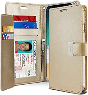 Leather Cover Protection Wallet for iPhone XS Max with Pockets Case, Gold