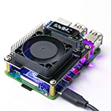 Yahboom Raspberry Pi Cooling Fan with I2C OLED Display Intelligent Temperature Control Programmable RGB Light for Raspberry Pi 4B 3B+ 3B(Quiet)