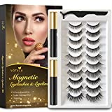 Votala Magnetic Eyelashes and Magnetic Eyeliner Kit, 10 Pairs of Different Styles Reusable 3D Magnetic Eyelashes with 2 Special Magnetic Eyeliners and Tweezers, with Natural Look (10 Pairs)