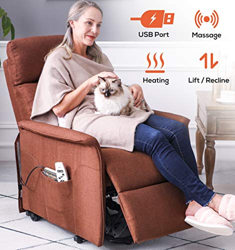 ERGOREAL Electric Lift Chair for Small Elderly People Fabric Lift Recliner with Heat and Massage Infinite Position Power Lift Recliners with USB Port and Side Pocket (Brown)