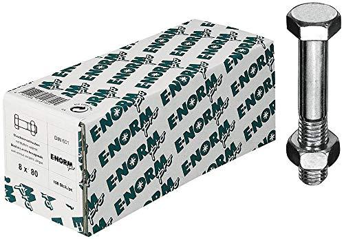 E-Normpro - Tornillos hexagonales con eje din 601 m8x16 mu bzp hp
