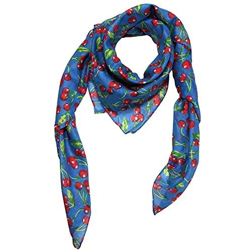 Freak Scene Pañuelo de algodón - Cerezas - azul - Pañuelo cuadrado para el cuello