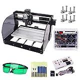 Upgrade CNC 3018 Pro-M GRBL-Steuerung DIY-Maschine mit geschützter Platine, Yofuly 3-Achsen-Leiterplatte PVC-Fräsgravur Arbeitsbereich 300x180x45mm