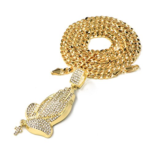 Raonhazae Hip hop Iced out PRAYING HANDS Pendant 5mm 24' Concave Cuban Chain (24)