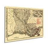 Historix Vintage 1896 Map of Louisiana - 18x24 Inch Vintage Map of Louisiana Wall Art - Old Louisiana Wall Map Indexed Showing Cities Towns and Railroads - Louisiana Wall Decor (2 sizes)