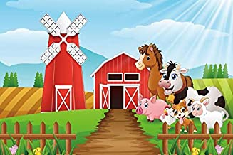Yeele 5x3ft Cartoon Farm Pasture Background for Photography Countryside Shed Barn Scenery Livestock Animals Backdrop Rustic Baby Boy Kids Adult Children Portrait Shoots Photo Booth Props