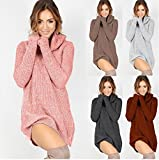 RVXZV SillyqZ Fashion Winter Sweater Dress Women Casual Turtleneck Long Knitted Oversize Sweaters Dresses Long Sleeve Sweaters Dress Pullover M Gray