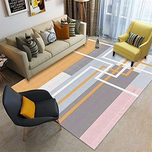 office rug Living Room Rectangular Rug Gray Pink Orange Machine Washable big rugs small rugs for bedroom 180X280CM 5ft 10.9'X9ft 2.2'