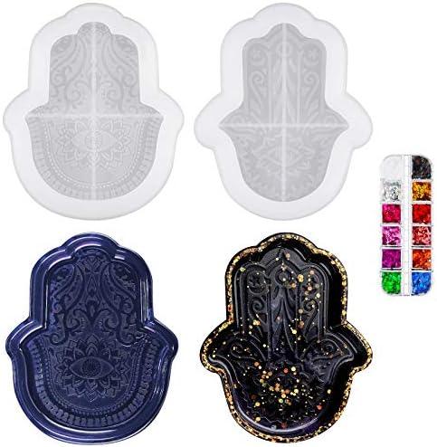 2 Pieces Hamsa Hand Silicone Resin Mold Ashtray Silicone Mold Evil Eye Hamsa Hand Crafts Mold product image