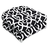 Pillow Perfect Outdoor/Indoor New Geo Tufted Seat Cushions (Round Back), 19' x 19', Black/White, 2 Pack