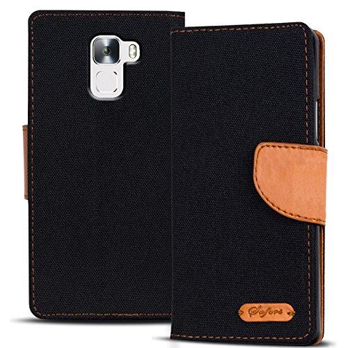 Verco Honor 7 Hülle, Schutzhülle für Huawei Honor 7 Tasche Denim Textil Book Hülle Flip Hülle - Klapphülle Schwarz