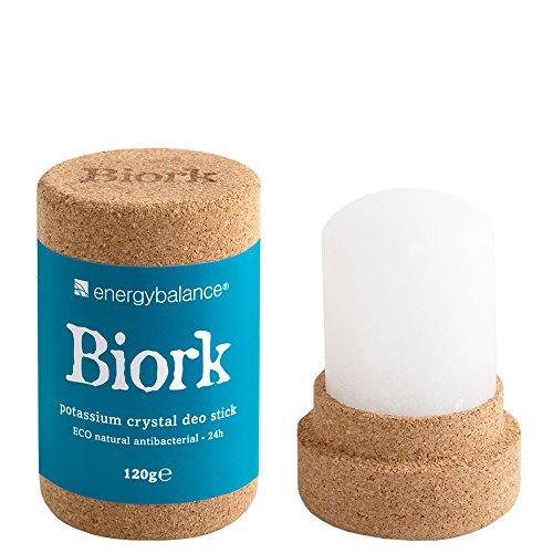 EnergyBalance Biork Deo-Stick - Öko Bio Kristall Deo - Damen, Herren - ohne Aluminiumchloride, ohne Alkohol, Duftneutral, Plastikfrei, Vegan - Qualität aus der Schweiz - 120 g