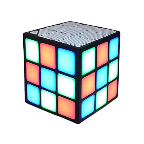 New Wayzon Magic Rubik's Cube Portable LED RGB Light Deep Bass Bluetooth 4.0 Wireless Speakers with Build in Microphone Hands-Free Function TF Card Mode(White) (Black)