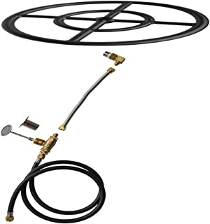 Stanbroil Natural Gas Fire Pit Burner Ring Installation Kit, Black Steel, 12-inch