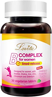 Sponsored Ad - Lovita High Potent Vitamin B Complex for Women, Time Release, All B Vitamins with Iron, Vitamin C, Cranberr...
