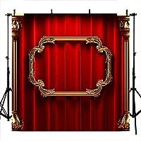 新しい誕生日の背景7x5ftポリコットンゴールデンフォトフレーム赤いカーテンの背景新生児のキラキラの柱の写真ブースの小道具の背景
