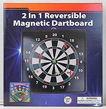 2-in-1 Reversible Magnetic Dartboard with Standard Darts & Baseball Game