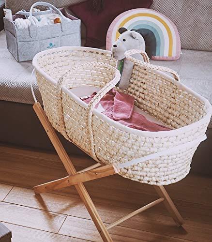 Baby Moseskorb mit Ständer und dreilagiger Matratze, Baby Stubenwagen mit Klappständer, Moseskorb Bettwäsche, Handgemachter Baby Schlafkorb (Naturständer)