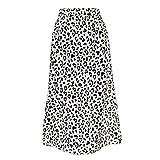 Falda para Mujer,Gasa Blanca Estampado De Leopardo Cintura A