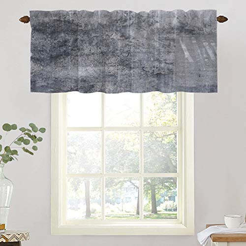 BaoNews Grey Abstract Art Black Kitchen Valances Half Window Curtain, Rustic Cool Brown and Gray Brick Wall Blackout Decoration Window Valances Curtains Drapes for Kitchen Bedroom