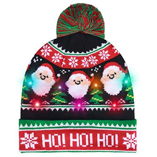 Lurowo Chapeau de Noel, LED Bonnet Noel Chapeau de Père Noël Adultes et Enfant, 7 LED Coloré Noël Tricoté Chapeau Bonnet Tricoté Ornements de Noël (Couleur Vert)