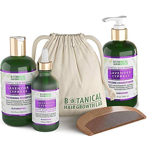 BOTANICAL HAIR GROWTH LAB - Scalp Treatment, Shampoo and Conditioner Gift Set - Lavender Cypress - Essential Hair Recovery - Sensitive Scalp / Rejuvenating - For Hair Thinning Alopecia Postpartum DHT