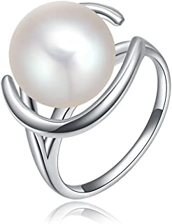 ISAACSONG.DESIGN 18K White Gold Shell Pearl Band Engagement Wedding Ring for Women