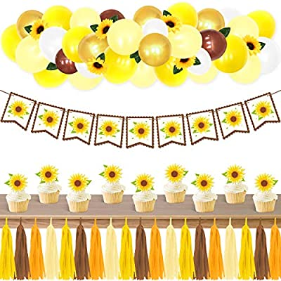 Amazon - Save 30%: Sunflower Party Supplies Set Banner Cupcake Toppers Paper Tassels Lat…