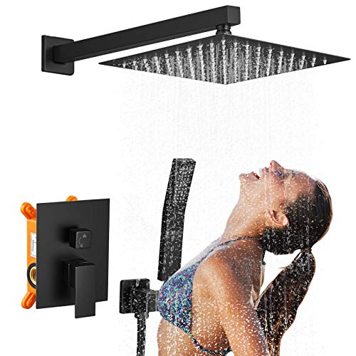 Black Shower System, 12 Inch Shower Faucets Sets Complete, Rainfall Shower Kit Combo for Bathroom, Rough-in Valve Body and Trim Included