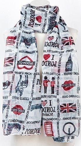 Souvenirs De Londres Amour De Londres Imprimé Mode Écharpe Paréo Châle Blanc