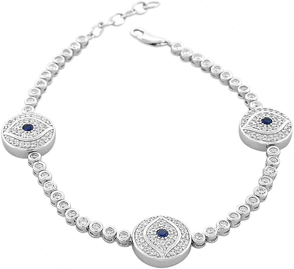 925 Sterling Silver White Blue Bezel-Set CZ Hamsa Evil Eye Women