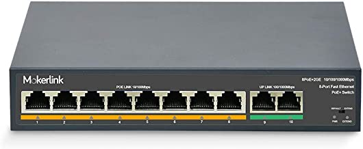 MokerLink 8 Port PoE Switch with 2 Gigabit Uplink Port, PoE Plus 802.3af/at, 120W Built-in Power, Extend to 250Meter, Metal Plug & Play