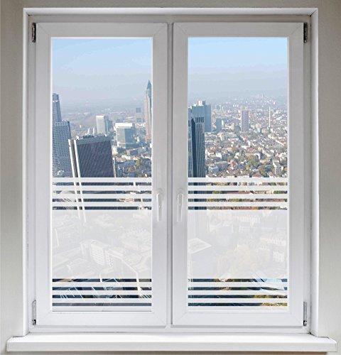 INDIGOS UG Glasdekorfolie Dusche 1200mm breit x 500mm hoch - Folie für Duschkabine Fensterfolie Bad Sichtschutz Streifendesign satiniert Blickdicht