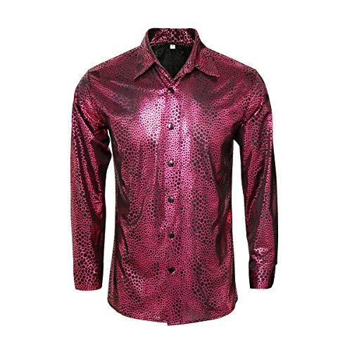 Funhoo heren hemd jaren 70 80 lange mouwen metallic glanzend serpentijn glitter kostuum slim fit tops voor party Halloween Cosplay nachtclub disco dansen