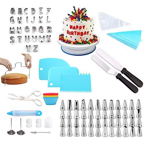 YumSur 132 Pezzi Decorazione Torta Set,Supporto Girevole per Torta, 48 Punte in Acciaio Inossidabile, 2 spatole per glassare, 3 raschietti per Dolci più Lisci,Adatta per Cupcake, Dolci,Torta,Biscotti