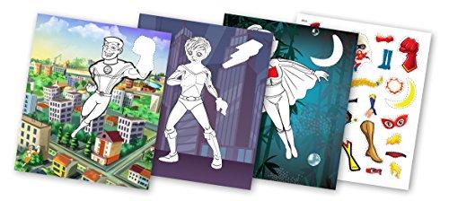 QuackDuck Malbuch Superheroes - Color with Glitter Stickers - Superhelden - Malen und Schneiden mit Glitter Sticker Aufkleber - Malblock für Kinder ab 5 Jahre (6016)